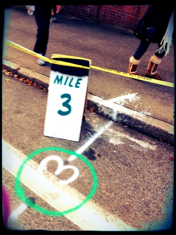 the three mile marker -- what a beautiful sight!