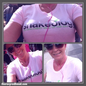 running and rockin' my pink SHAKEOLOGY shirt!