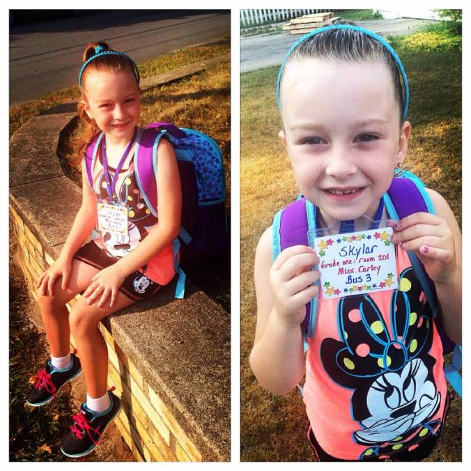 day 2 -- showing off her bus card with miss carley's name on it -- the teacher she wanted!